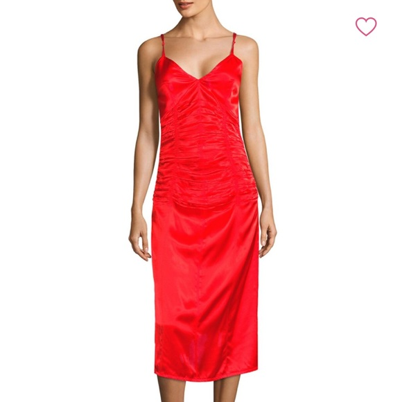 d3eb11692 Helmut Lang Dresses | Red Ruched Slip Dress Size 10 | Poshmark
